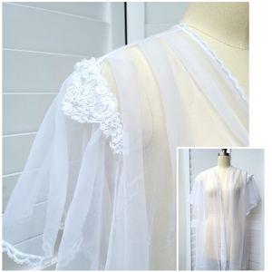 Vintage Bridal Lingerie Sheer Robe size Large